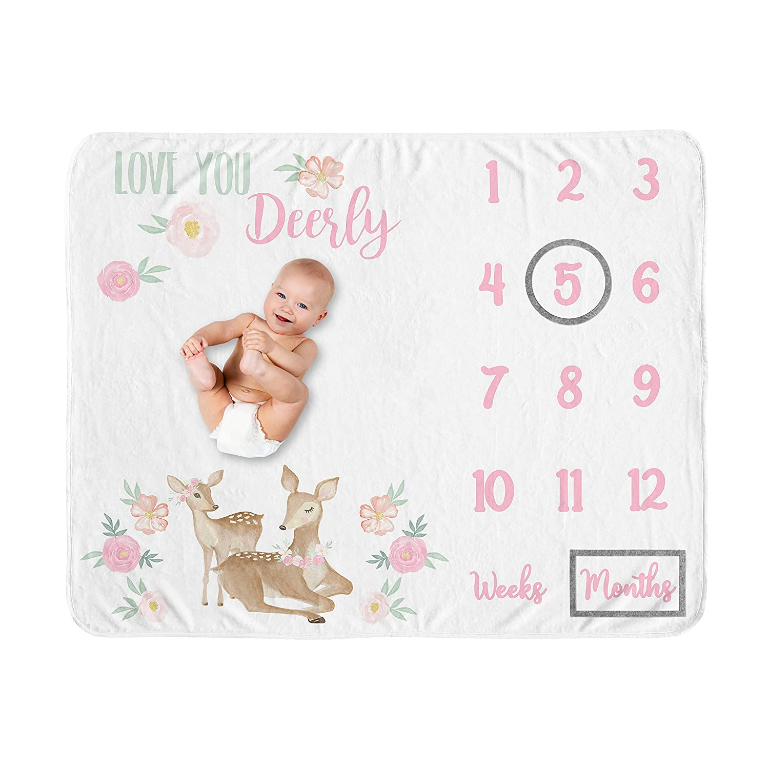 Sweet Jojo Designs Woodland Deer Girl Milestone Blanket Monthly Newborn First Year Growth Mat Baby Shower Memory Keepsake Gift Picture - Blush Pink Mint Green Boho Watercolor Forest Love You Deerly