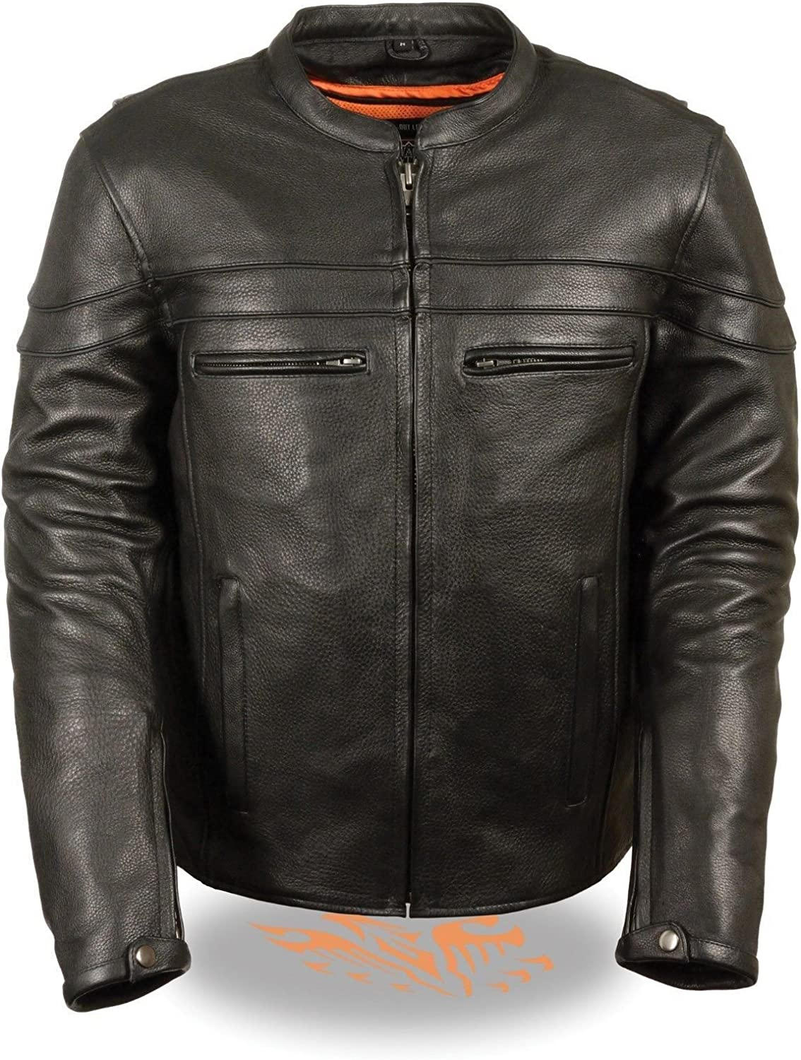 MEN'S MOTORCYCLE REFLECTIVE SCOOTER NAKED COW LEATHER JACKET W/GUN POCKET VENTS (3XL Regular)