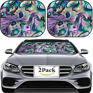 MSD Car Sun Shade for Windshield Universal Fit 2 Pack Sunshade, Block Sun Glare, UV and Heat, Protect Car Interior, Close up Background of Blue Green and Purple Abalone Pearl Shell 27885294