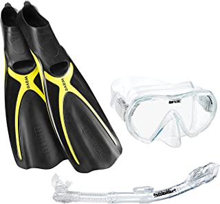 Mares Wave Full Foot Fins with Mask & Dry Snorkel Combo Scuba Snorkeling Kit