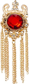 Knighthood Crowned Red Semi Precious Stone With Crystal and Chain Detailing Metal Lapel Pin Brooch for Men