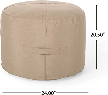 Christopher Knight Home 307996 Crystal Cay Outdoor Water Resistant 2' Ottoman Pouf, Tuscany