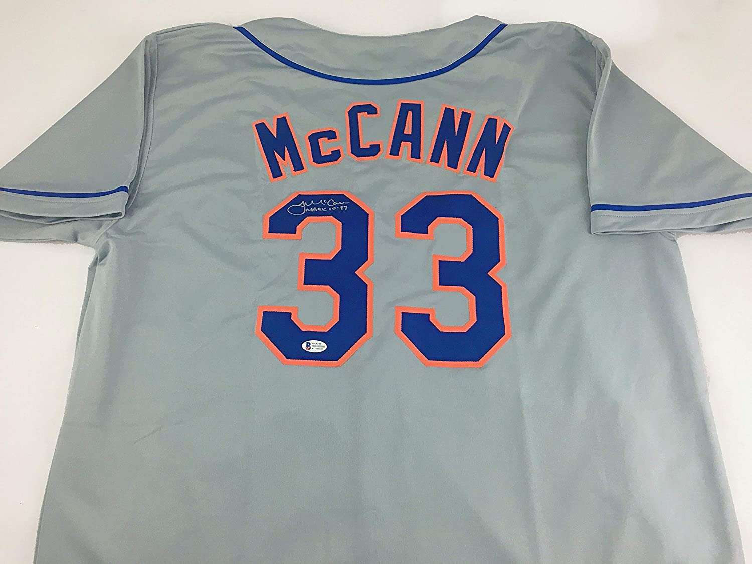 James Large special price McCann Signed Autographed Gray Becket Jersey Baseball Max 65% OFF with