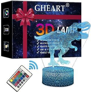 Lámpara de noche con diseño de dinosaurio en 3D, lámpara de ilusión para niños, luz de ambiente, lámpara de mesita de noche, mando a distancia, cambio de interruptor táctil, lámpara de escritorio