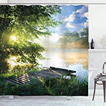 Ambesonne Landscape Shower Curtain, Fishing Pier by River in The Morning with Clouds and Trees Nature Image, Cloth Fabric ...