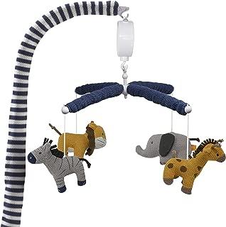 Lolli Living Baby Crib Musical Mobile w/ Safari Animals - Knitted Lion, Giraffe, Elephant and Zebra Characters   Hanging Decor w/ Electronic Music Box for Newborn & Nursery Bedding/Crib   Baby Boy