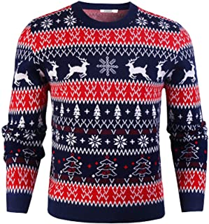 iClosam Men's Christmas Jumpers Unisex Sweater Long Sleeve Pullover Novelty Casual Knitwear Top