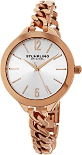 Stuhrling Original Women's Quartz Watch With Silver Dial Analogue Display and Rose Gold Stainless Steel Bracelet 624M.03, Rose Gold Band