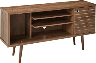 Manhattan Comfort Liberty Collection Mid Century Modern TV Stand With One Cabinet and Three Open Shelves and One Cubby With Splayed Legs, Wood