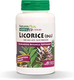 NaturesPlus Herbal Actives Licorice (DGL) Capsules - 500mg, 60 Vegan Supplements - Maximum Potency, Anti-Inflammatory, Sto...