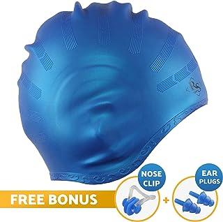 Royal - Gorro de natación para cabello largo, bueno para mujeres y hombres, impermeable, de silicona premium, forma especial para una protección eficaz de los oídos, mantiene el cabello seco, con clip para la nariz y tapones para los oídos