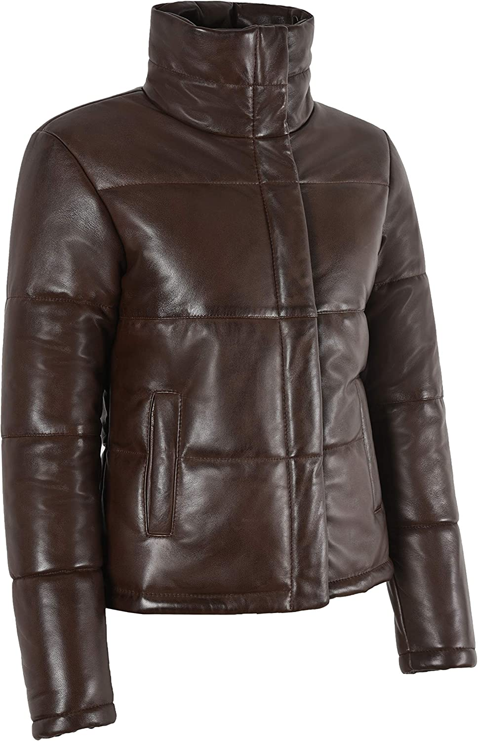 LADIES PUFFER JACKET Real Lambskin Leather Brown Quilted Padded Winters Jackets 5454