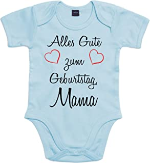 Mister Merchandise Mister Merchandise Baby Body Alles gute zum Geburtstag, Mama Strampler liebevoll bedruckt Glückwunsch Hellblau, 0-3