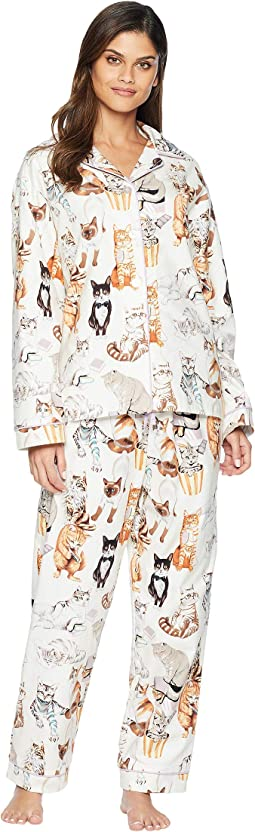 Saucy Cat Flannel Pajama Set