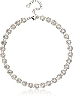 Anne Klein Women's Silver Tone Pave Collar Necklace, Silver Tone, Adjustable