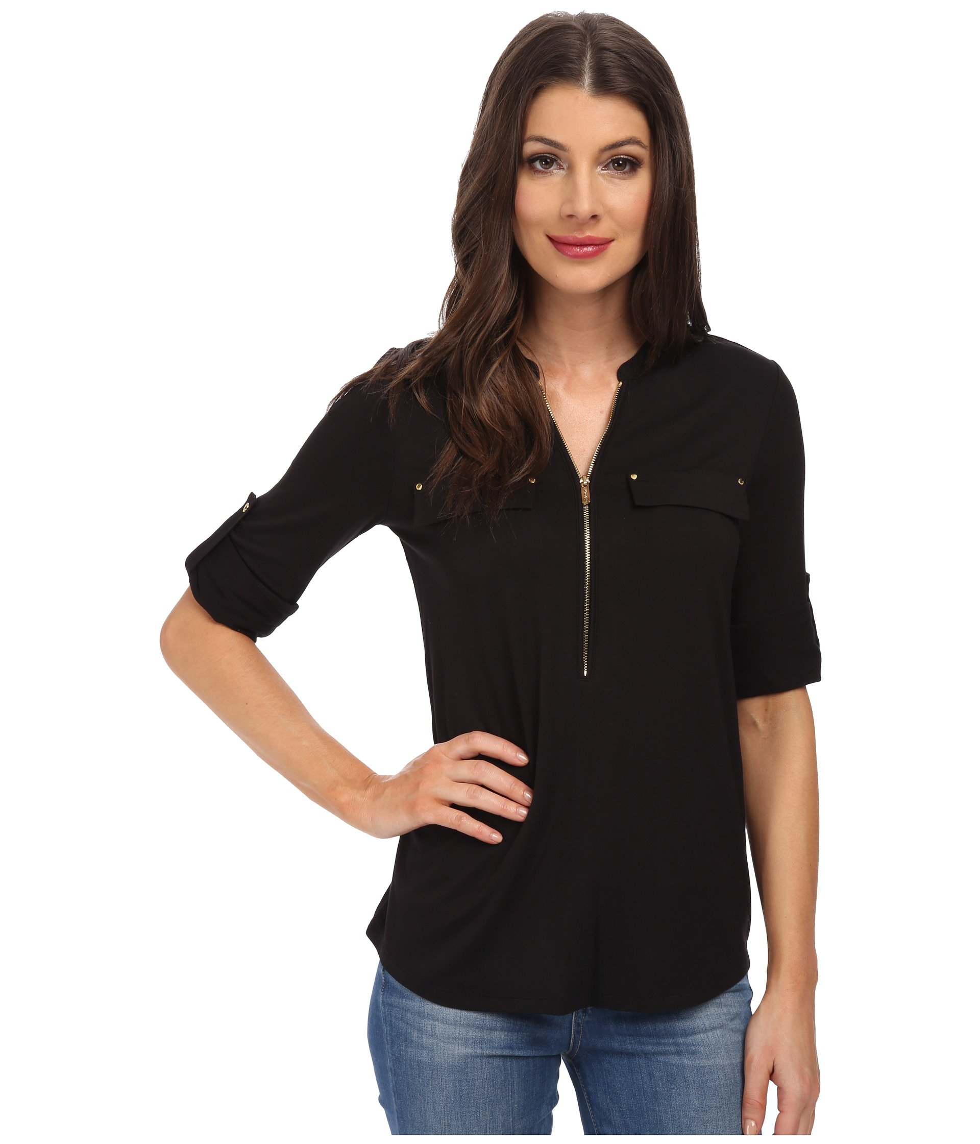 852084ddf0accb Black. 724. Calvin Klein. Essentials Zip Front Roll Sleeve