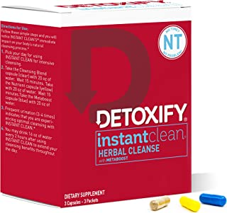Detoxify – Instant Clean – 3 Capsules – Professionally Formulated Herbal Detox Capsules – Enhanced with Metaboost, Milk Thistle Extract, Uv Ursi & Ginseng Extract