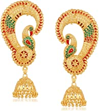 Apara Matt Gold Plated Multicolour Ear Cuff Jhumki Earring Jewellery for Girls/Women