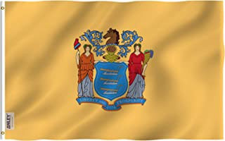 Anley Fly Breeze 3x5 Foot New Jersey State Flag - Vivid Color and UV Fade Resistant - Canvas Header and Double Stitched - Newjersey NJ Flags Polyester with Brass Grommets 3 X 5 Ft