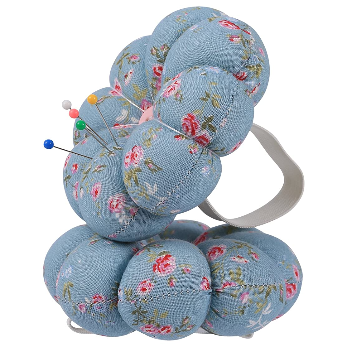 NEOVIVA Pincushions for Sewing with Wristband, Cute Wrist Pin Cushion for Daily Needlework, Style Pumpkin, Pack of 2, Floral Blue Ocean