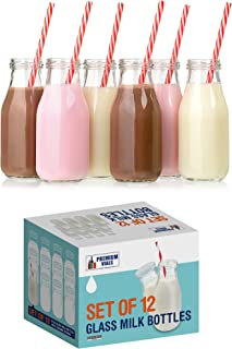 Premium Vials, 11 Oz Glass Milk Bottle Set of 6 - Includes Reusable White Lids and Straws (6)