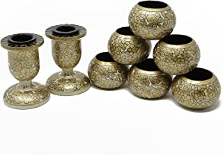 Shalinindia Dinner Party Dinning Table Décor Set of 6 Napkin Rings and 2 Taper Candle Holders Handmade Paper Mache Art and Craft,Gold Offwhite