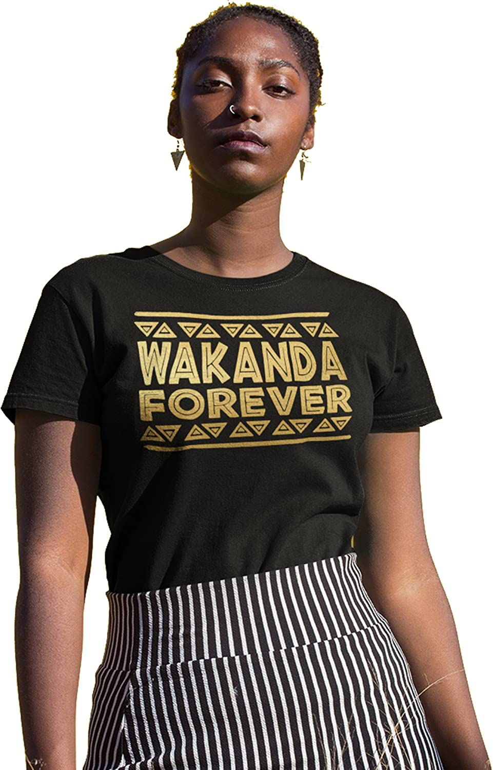 IApparel Wakanda Forever gold Foil Women Black Shirt