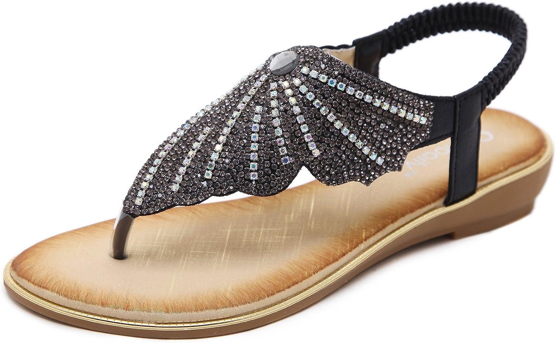 Meeshine Womens Flat Sandals Summer Rhinestone Comfort Bohemian Flip Flop shoes