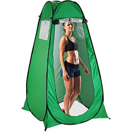 Manuel Tragbare Toilettenzelt, Pop up Duschzelt Camping Umkleidezelt Outdoor Privacy Shelter Mit Tragetasche Lagerzelt Kabine mit Ablagefach (120 x 120 x 190cm)