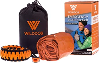 Emergency Sleeping Bag - thermal bivy sack in waterproof pouch. Includes thick paracord bracelet and survival whistle. Suitable as Emergencies blanket or Mylar shelter, ideal for survival gear kits.