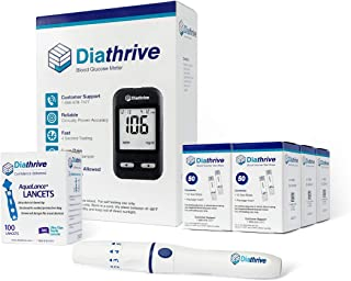 Diathrive Blood Glucose Monitoring Kit – Diathrive Blood Glucose Meter, 300 Blood Test Strips, 1 Lancing Device, 30 Gauge Lancets-100 Count, Control Solution, Logbook, and Carrying Case