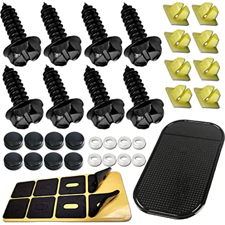 8 Pack Black Screw Covers and Anti-Rattle Foam Pads for Fastening License Plates Stainless Steel Screws Frames and Covers License Plate Screws Fastener Kit