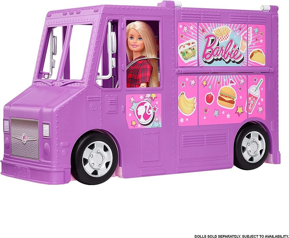 Barbie furgoncino street food, veicolo trasformabile con più di 30 accessori, giocattolo per bambini GMW07