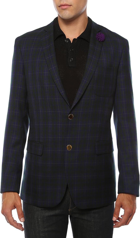 Ferrecci Men's Sodi Black & Purple Tartan Plaid Gold Button Slim Fit Blazer