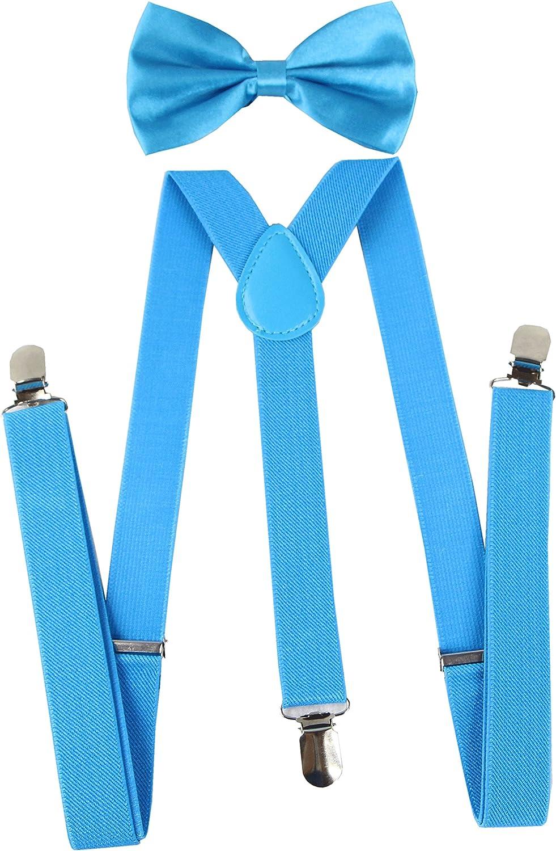 Keywin Tuxedo Suspender /& Bow Tie Set Elastic Adjustable Strong Clip-on Suspender