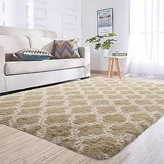 Junovo Rectangle Ultra Soft Area Rugs Fluffy Carpets for Bedroom Living Room Shaggy Floor Rug Home Decor Mats, 5ft x 8ft, Camel Trellis
