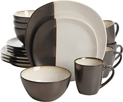Gibson Elite Volterra 16 Piece Reactive Glaze Soft Square Dinnerware Set, Cream and Grey