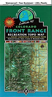 Colorado Front Range Recreation Topo Map Including Rocky Mountain National Park, National Forests, State, County, & Mountain Parks