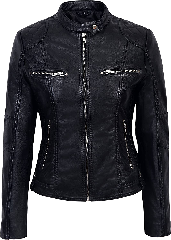 Ladies 8322 Black Fashion Model Casual Style Quilt Shoulder Napa Soft Leather Jacket