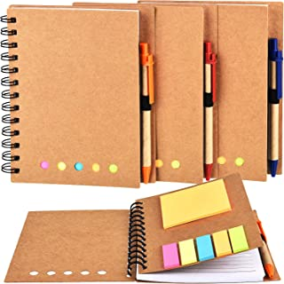 TOODOO 4 Packs Spiral Notebook Lined Notepad with Pen in Holder and Sticky Notes, Page Marker Colored Index Tabs Flags (Brown Cover, Large)
