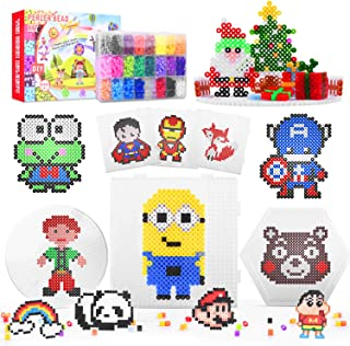 BONROB Fuse Beads,12000 pcs 24 Colors Fuse Beads Kit for Kid 3 Peg Boards 60 Patterns Arts and Crafts Pearler Beads Kit fo...