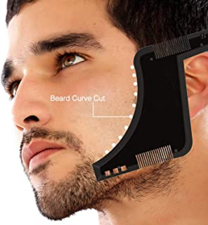 NRTFE Beard Shaping Tool Template Trim Styling Tool with Comb for Men Facial Hair (Black)