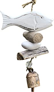 Nickanny's Wooden White Washed Fish with Stones and Glass Beads 15 in Long Wind Chime with Wood Pieces