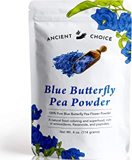 Ancient Choice - Butterfly Pea Flower Powder (4 ounce)   Blue Matcha Tea   Ceremonial (Highest) Grade   Adaptogenic Raw Culinary   Natural Food Coloring   Thai Non-GMO   Vegan
