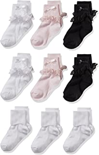 Little Girls 9 Pack Turn Cuff Shorty Socks