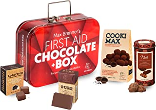 First Aid Chocolate Gift Box: Rectangular Tin with Latch and Handle includes Cookie Max Dark, Pecan Nuts, Pure Milk, and Addiction Cubes by Max Brenner - Kosher