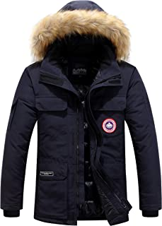 Men's Coats with Fur Hooded Winter Warmth Jacket Parka Multi-Pocket Casual Thickened Down Outwear Coat Outdoor Windproof