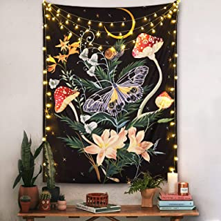 Fowocu Butterfly and Flower Vertical Tapestry Wall Hanging, Moon and Stars Floral Tapestries, Black Wildflower Aesthetic T...