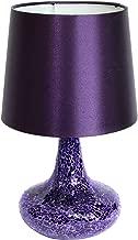 Simple Designs LT3039-PRP Mosaic Tiled Glass Genie Satin Look Fabric Shade Table Lamp, Purple
