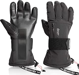 Ski Gloves Men&Women,devembr Waterproof Snow Gloves with Detachable Wrist Guard